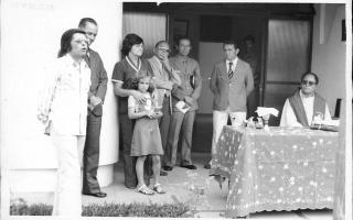 'Inauguração da Delegacia de Polícia, vendo-se Zezinho, Padre Marques, Diogo, e outros 197 a 1979