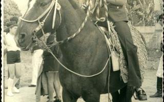 'Solange a cavalo, ao fundo, indivíduos não-identificados de pé  1970 a 1979